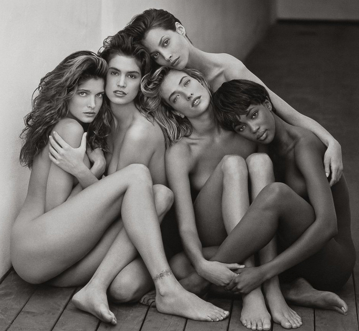 Taken by Herb Ritts | Featuring supermodel's Stephanie, Cindy, Christy, Tatjana, Naomi in Hollywood, California for Rolling Stone Magazine |