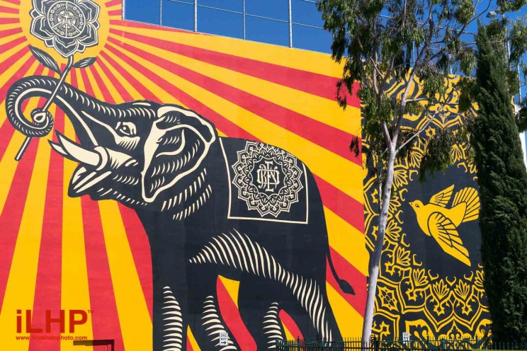 shepard fairey peace elephant west hollywood library