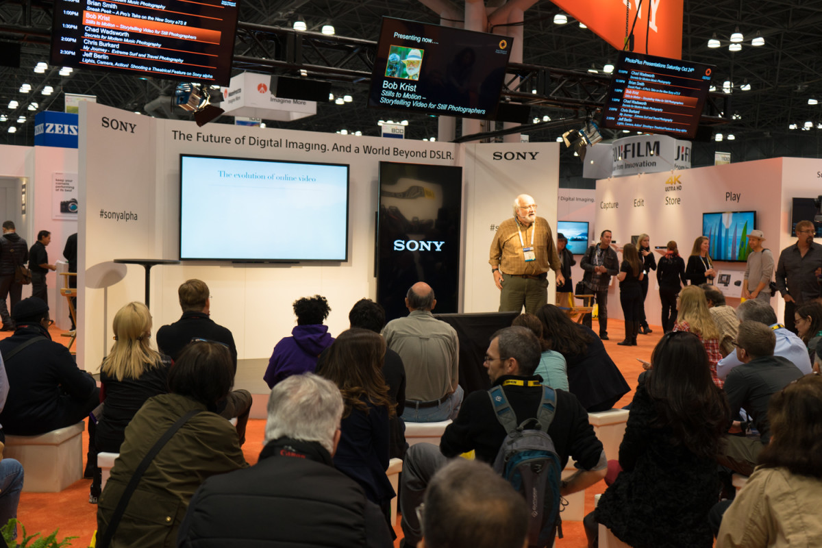 Like the Canon's and Nikon's, Sony's booth was very active with a lot of conferences.